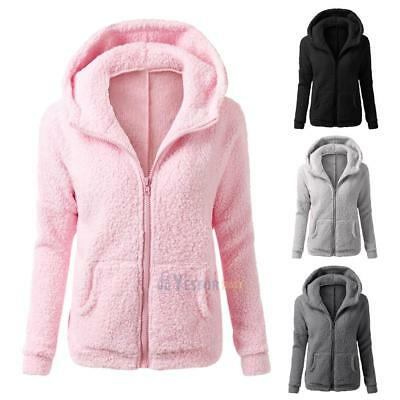 Womens Winter Warm Hooded Fleece Parka Jacket Coat Ladies Tops Overcoat Outwear