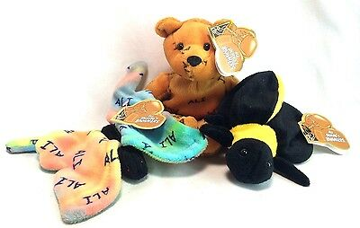 Ali Salvino's Bammers 1999 Lot 3 Bear Bumble Bee Butterfly Plush Animals NEW Tag
