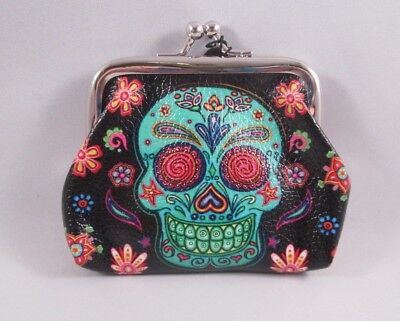 Sugar Candy Skull Day Of The Dead Coin Purse Green & Black Floral Skull