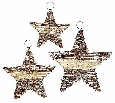 Christmas Holiday Rattan Star Ornament Assortment Set of 3, Boxed