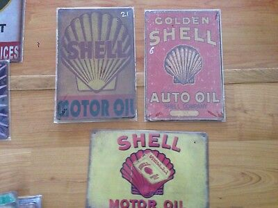 Old style Tin Metal Signs SHELL OIL Set of 3 -Reproduction Garage Free Postage