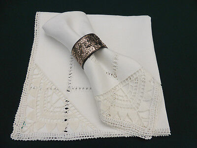 2 Antique Linen Italian Hand Crafted Dinner Napkins-Reticella Needlelace-16""