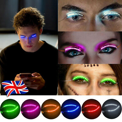 UK LED Luminous Eyelash Light Up False Eye Lash Party Icon Bar Xmas Halloween