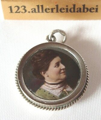 Medaillon Silber Emaille Miniatur Malerei Anhänger Emaile old silver Pendant