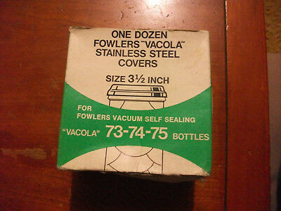 Collectible Fowlers Vacola New old stock unused pack lids 3 & 1/2 inch S/S