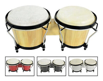 Pair Of Natural Bongos Tuneable Hide Heads & Rim Wood Finish With Tuning Key