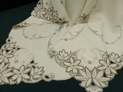 Vintage Irish Linen Tablecloth-Hand Embroidered Cutwork Taupe Coloured Flowers-