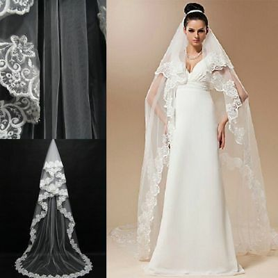 Layers Wedding Bridal Veil Lace White/Ivory Cathedral Length Birdcag Edge Bride