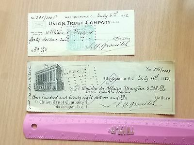 Union Trust Company checkbook bank document,tax mark 1922 token USA Washington