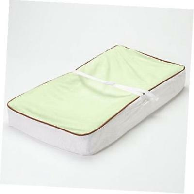 - velor lime/white/chocolate plush changing pad cover