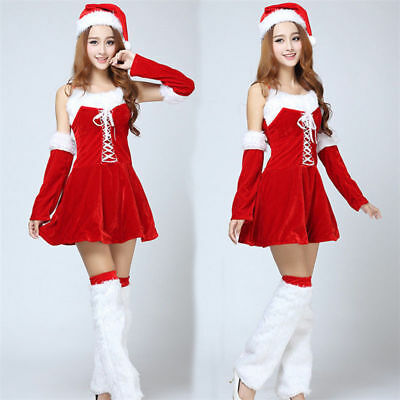Christmas Club Role Play Bar Hanging Xmas Party Portrait Halter Dress Sexy Suit