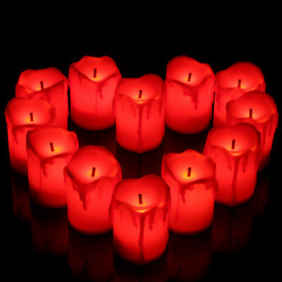 12 LED Tea Lights Red Candles Tealight Flameless Battery Operated Wedding XMAS