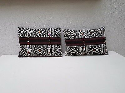 14'' X 20'' African Mudcloth Kilim Pillow Cover Set of Two Mud Cloth Cushions