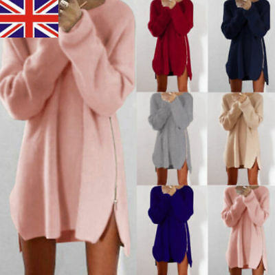 Womens Winter Long Sleeve Jumper Tops Knitted Sweater Loose Tunic Mini Dresses