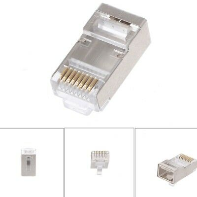 100x RJ45 Network Connector CAT6 Modular Plugs Shielded Version With Loading Bar