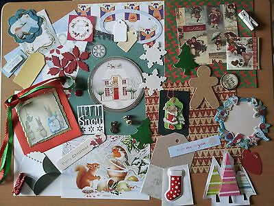 CLEAROUT - XMAS Cardmaking Scrapbooking 50+ pieces LUCKY DIP. Papers Toppers etc