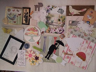CLEAROUT - Cardmaking Scrapbooking  LUCKY DIP - 40+ pieces. Papers Toppers etc