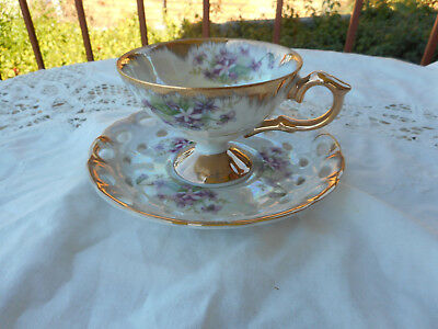 Vintage Japanese Lustre Ware  Lustreware Duo Cup And Saucer Violet Pattern