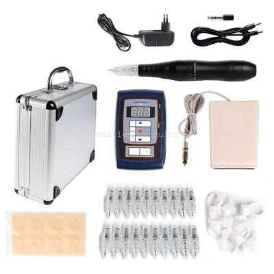 Permanent Makeup Eyebrow Pen Rotary Tattoo Machine Kit Power Supply With Case
