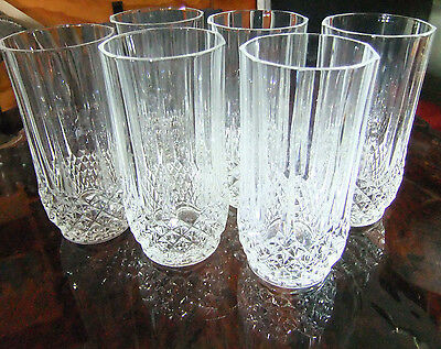 SIX VINTAGE HIGH BALL GLASSES, Cristal D'arques, perfect