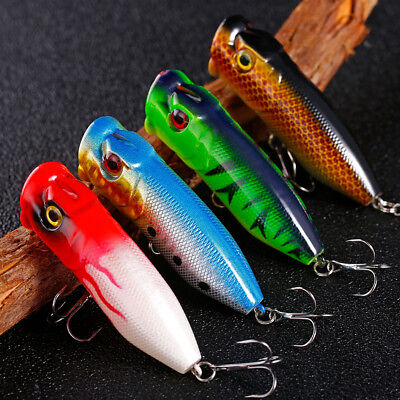 Saltwater Freshwater Popper Fishing Lures Hard Plastic Minnow Crankbaits 4pcs