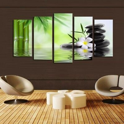 5Pcs Fresh Nature Bamboo Art Oil Painting Canvas Picture Modern Home Wall Decor
