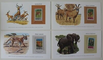 Upper Volta 1979 Kob Antelope Caracal African Elephant Wildlife Stamp / Card x 4