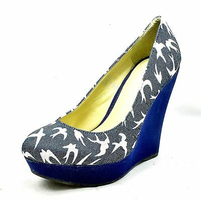 Blue Canvas Swallow pattern high heel wedge court shoes