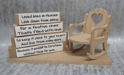 Christmas In Heaven chair & blocks set remembrance - blank MDF craft
