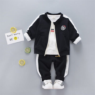NEW!Baby boy 3 pcs clothing set tracksuit (jacket+pants+top) 6-36 month BLACK
