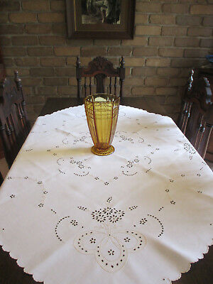 VINT SQUARE Ecru LINEN COTTON TABLECLOTH ~ Ornately Embroidered ~ Beautiful