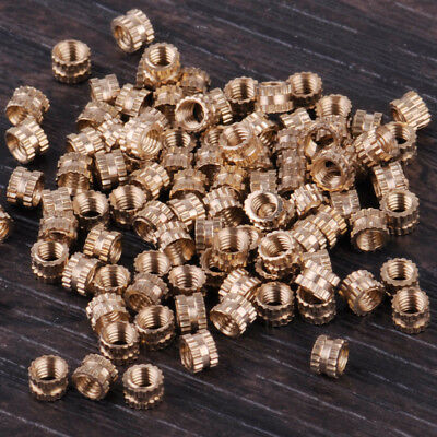 100PCS M3 x 3mm Solid Brass Cylinder Knurled Threaded Round Insert Embedded Nuts