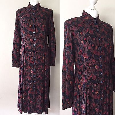 Vintage Late 70's/early 80's St Michael Floral Print, Retro Button Up Dress