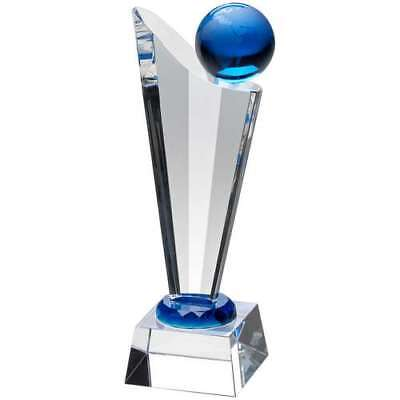 Crystal Blue & Clear 3D Globe Trophy Corporate Award Free Engraving Jb2030A C25