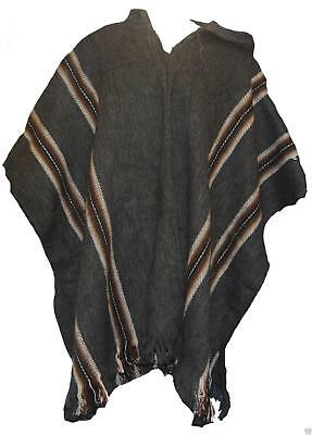 FairTrade Mens Alpaca Wool Hooded Peruvian Poncho Warm Shawl Festival Coat 392 g