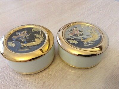 Matched Pair Of Japanese Art Of Chokin Trinket Boxes Ft Samurai And Tigers