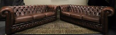 Stunning Pair Of 3 Seat Leather Gasgoigne Chesterfield Sofa Couch Lounge Suite