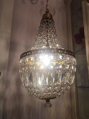Huge Glamorous Vintage  Lead Crystal  Empire Style Chandelier Rewired