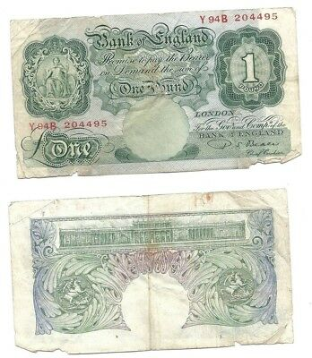 Great Britain 1 Pound 1949-55 in (VG+) Condition Banknote P-369b