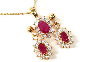 9ct Gold Ruby and Cubic Zirconia Pendant and Earring Set Boxed Made in UK