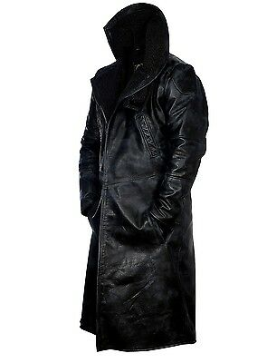 Blade Runner 2049 Ryan Gosling Faux Fur Lined Open Front Real Leather Coat