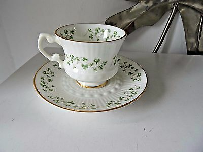 royal tara ireland bone china cup & saucer clover white green gold leaf ex displ