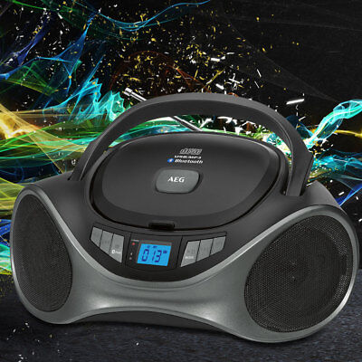 CD Player Bluetooth Boombox MP3 Stereo Radio USB AUX IN  Music System black AEG