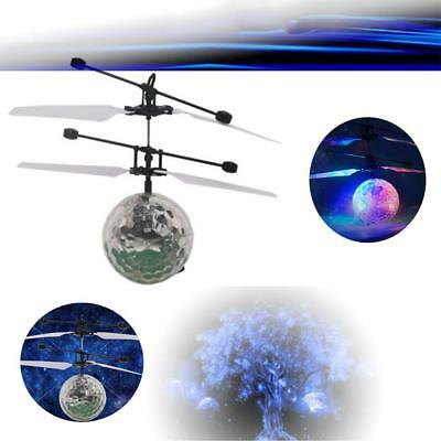 Infrared Induction Flying Flash Disco Colorful LED Ball Helicopter Kids Toy AG