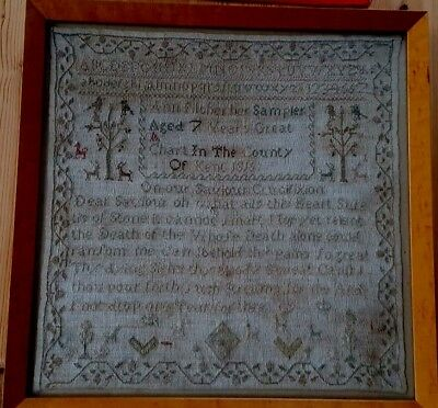 Antique 1816 Child Sampler Needlework By Ann Pilcher Aged 7 years County Of Kent