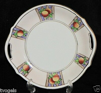 """Vintage Nippon Japan Hand Painted 6"""" Plate Handled Serving Plate Tray"""