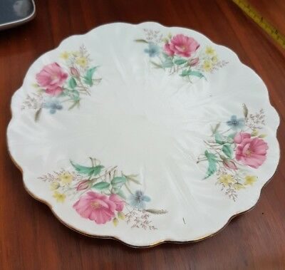 Aynsley China pink flower pattern cake plate serving 9 inch