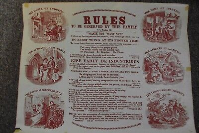Early Religious Family Rules poster 51.5 x 39.5 cm approx