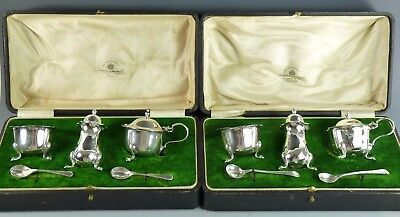 Vintage Sterling Silver - Pair MAPPIN & WEBB Condiment Sets