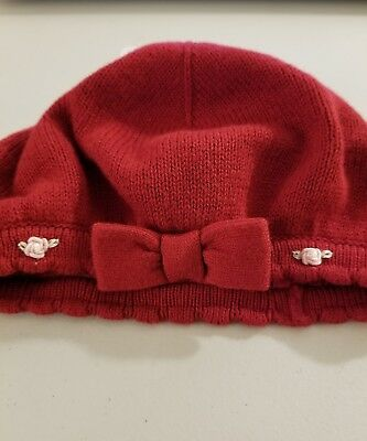 Janie and Jack baby girl sweater embroidered rose beret hat.